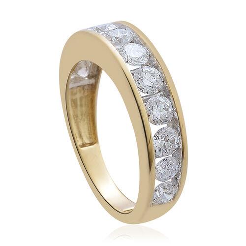 ILIANA 18K Yellow Gold IGI Certified Diamond (Rnd) Half Eternity Band Ring 1.500 Ct.