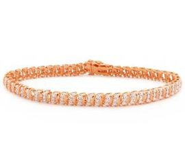 JCK Vegas Show Stopper Diamond (Rnd) Bracelet (Size 7.5) in Rose Gold Overlay