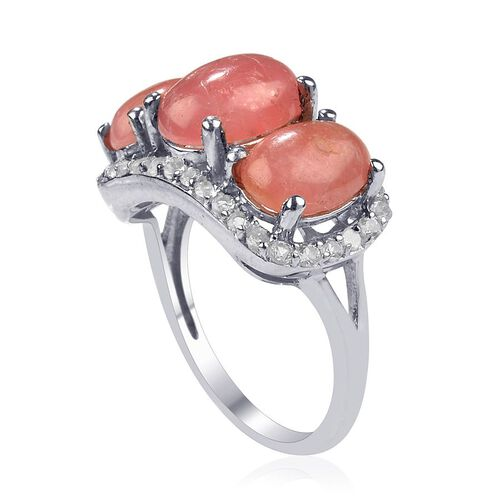Cocktail Collection Argentinian Rhodochrosite (Ovl 3.00 Ct), White Topaz Ring in Platinum Overlay Sterling Silver 8.000 Ct.
