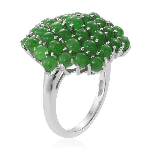 Green Jade (Rnd) Cluster Ring in Platinum Overlay Sterling Silver 7.000 Ct.