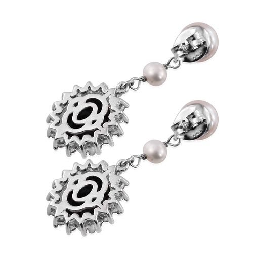 Black Jade (Ovl), Fresh Water Pearl and Natural Cambodian Zircon Drop Earrings (with Push Back) in Platinum Overlay Sterling Silver 12.250 Ct.