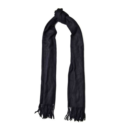 Black Colour Scarf with Handcrafted Tassels (Size 180x70 Cm)