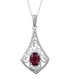 African Ruby (Ovl) Pendant with Chain in Rhodium Plated Sterling Silver 1.600 Ct.