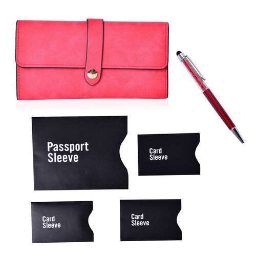 Red Colour Ladies Wallet (Size 19.5x10 Cm), Simulated Red Diamond Filled Ball Pen in Silver Tone with RFID Blocker Black Colour 4 Card Holder