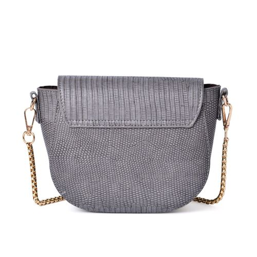 Half Moon Shape Grey Colour Crossbody Bag (Size 19x15x7 Cm)