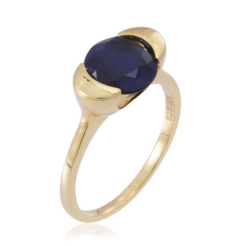Kanchanaburi Blue Sapphire (Rnd) Solitaire Ring in 14K Gold Overlay Sterling Silver 3.250 Ct.