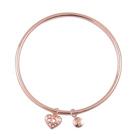 RACHEL GALLEY Rose Gold Overlay Silver Lattice Heart and Disc Charm Bangle (Size 8), Silver wt. 18.11 Gms.