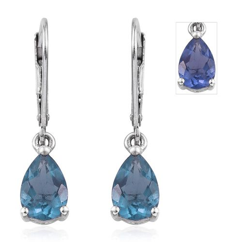 Colour Change Fluorite (Pear) Lever Back Earrings in Platinum Overlay Sterling Silver 3.250 Ct.
