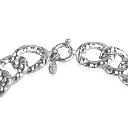 GP Sterling Silver Diamond Cut Curb Necklace (Size 20), Silver wt 84.47 Gms.