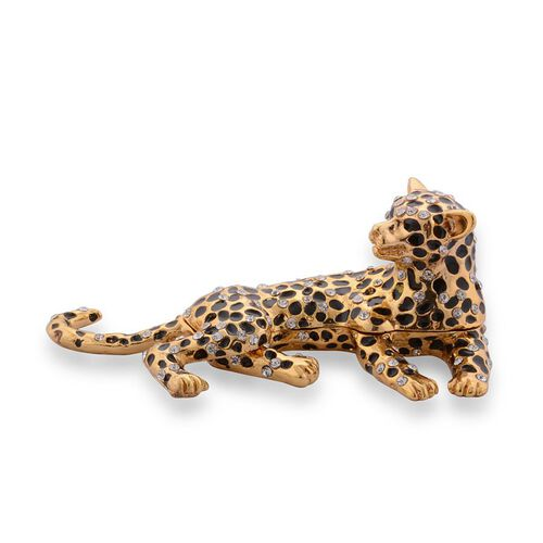 AAA White Austrian Crystal Golden and Black Enameled Leopard Jewellery Box in Gold Tone