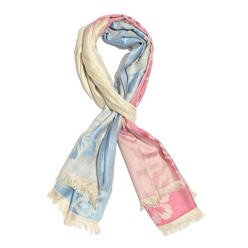 Light Pink, Blue & Beige Colour Floral Pattern Scarf (Size 190X65 Cm)