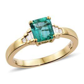 ILIANA 18K Y Gold AAAA Boyaca Colombian Emerald (Oct), Diamond (SI/G-H) Ring 1.100 Ct.