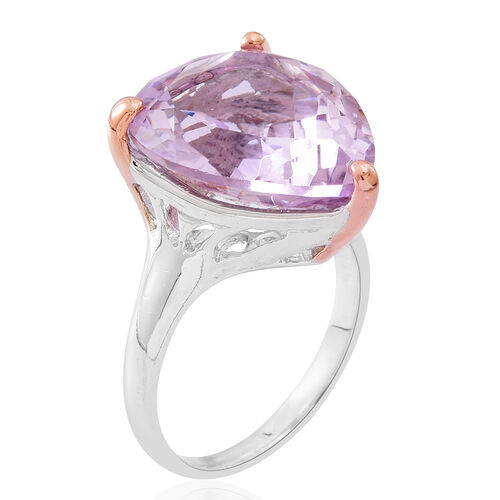 Rose De France Amethyst (Pear) Ring in Rhodium and Rose Gold Overlay Sterling Silver 14.000 Ct.