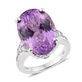 ILIANA 18K W Gold AAA Kunzite (Ovl 21.22 Ct), Diamond (SI/G-H) Ring 21.700 Ct.