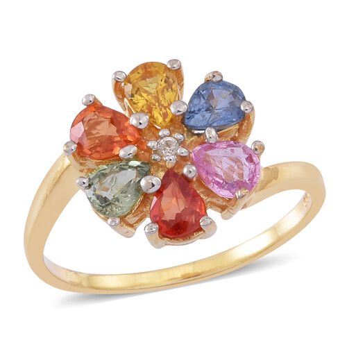 Rainbow Sapphire (Pear), White Sapphire Floral Ring in 14K Gold Overlay Sterling Silver 2.000 Ct.