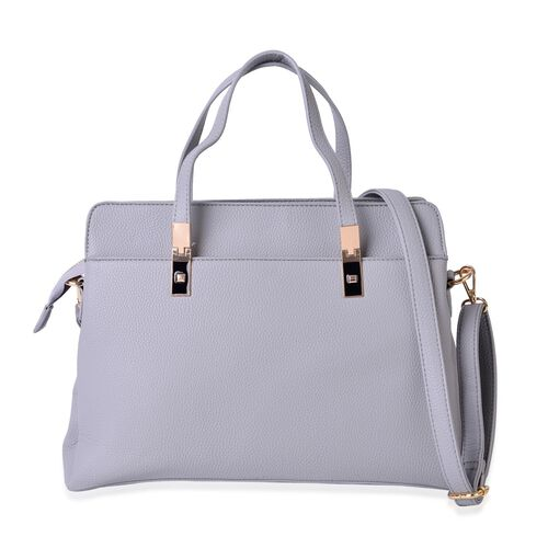 Light Grey Colour Tote Bag (Size 36x25x13.5 Cm) with Adjustable and Removable Shoulder Strap