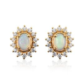 Ethiopian Welo Opal (Ovl), Natural Cambodian Zircon Stud Earrings (with Push Back) in 14K Gold Overlay Sterling Silver 2.250 Ct.