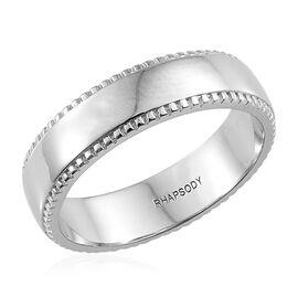 RHAPSODY 950 Platinum Milgrain 4mm Comfort Fit Wedding Ring, Platinum wt 7.51 Gms.