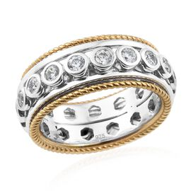 OTO - J Francis - Platinum and Yellow Gold Overlay Sterling Silver (Rnd) Full Eternity Band Ring Made with SWAROVSKI ZIRCONIA, Silver wt 10.06 Gms.