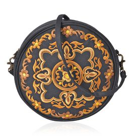 SHANGHAI COLLECTION Floral Embroidered Round Shape Crossbody Bag with Removable Shoulder Strap (Size 19X18X6 Cm)