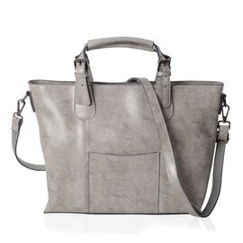 100% Genuine Leather Grey Colour Tote Bag with External Zipper Pocket and Removable Shoulder Strap (Size 39x30.5x25x11.5 Cm)