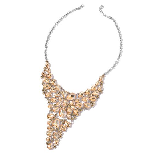 AAA Simulated Champagne Diamond Waterfall Necklace (Size 18 with 1 inch Extender) in Silver Tone