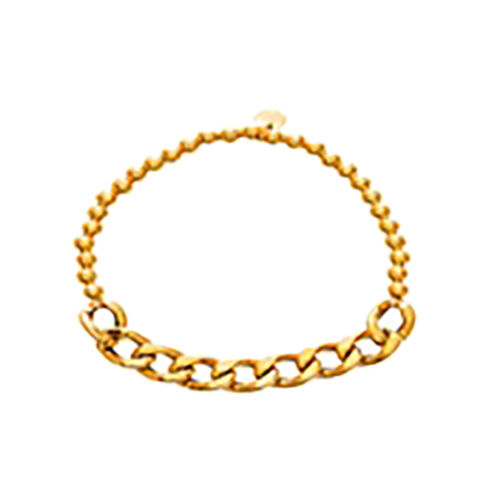 JCK Vegas Collection 14K Gold Overlay Sterling Silver Stretchable Curb Bracelet (Size 7), Silver wt 5.60 Gms.