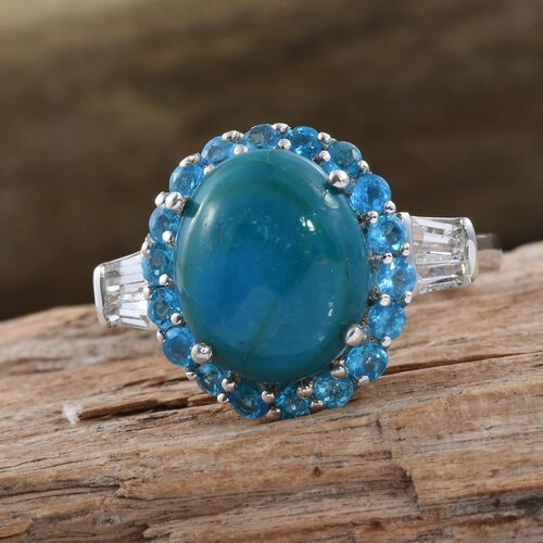 Natural Rare Opalina (Ovl 3.75 Ct), Malgache Neon Apatite and White Topaz Ring in Platinum Overlay Sterling Silver 5.000 Ct.