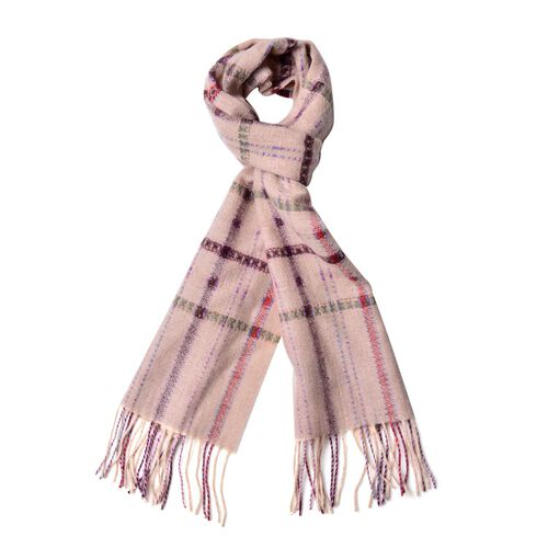 100% Wool Red, Coffee and Multi Colour Checks Pattern Scarf with Tassels (Size 160X30 Cm)