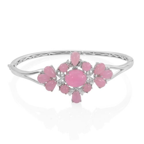 Pink Jade (Ovl 6.50 Ct) Bangle (Size 7.5) in Platinum Overlay Sterling Silver 19.000 Ct.Silver Wt 18.25 Gms