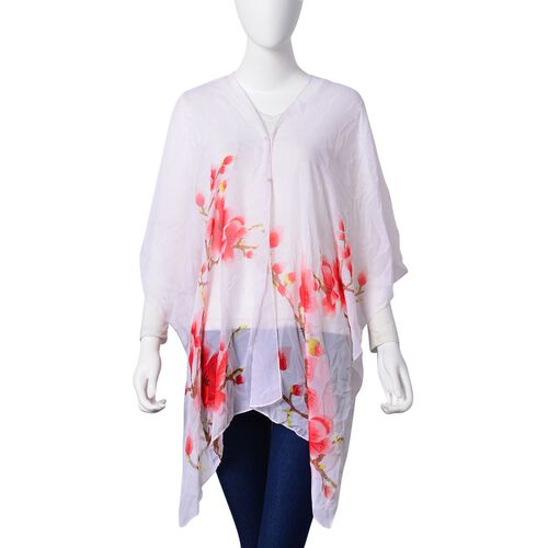 Plum Blossom Floral Pattern Pink, Red and White Colour Poncho with Simulated White Pearl Button (Size 90x75 Cm)