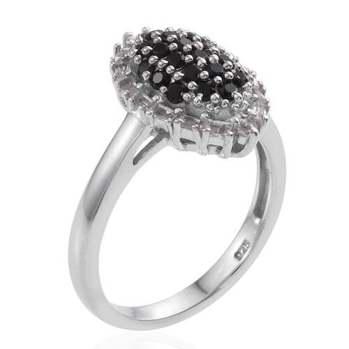 Boi Ploi Black Spinel (Rnd), White Topaz Ring in Platinum Overlay Sterling Silver 1.000 Ct.
