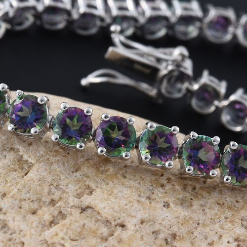 Northern Lights Mystic Topaz (Rnd) Bracelet (Size 7.5) in Platinum Overlay Sterling Silver 21.000 Ct.