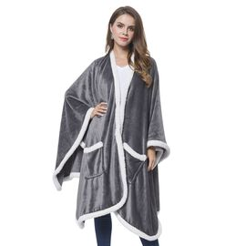Italian Designer Inspired - Grey and White Colour Microfiber Flannel Wrap with Sherpa Border (Size 140X90 Cm)