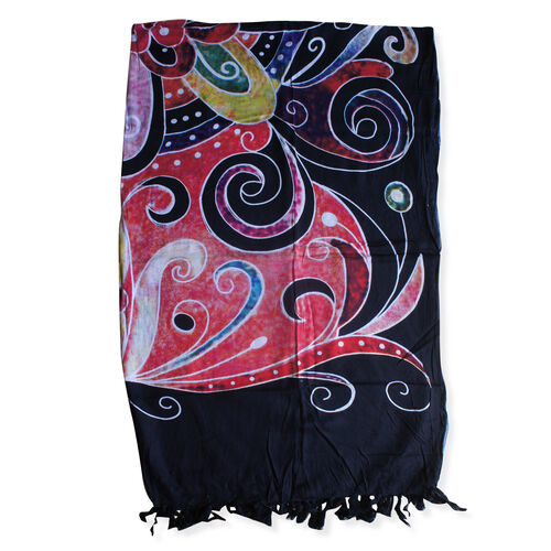 100% Rayon Black, Red and Multi Colour Sea Wave Pattern Sarong (Size 160x110 Cm)