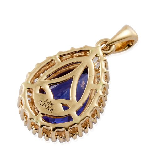 ILIANA 18K Yellow Gold AAA Tanzanite (Pear 3.05 Ct), Diamond (SI/G-H) Pendant  3.500 Ct.