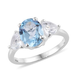 Mega Day Cracker Deals- Sky Blue Topaz (Ovl 9x7 mm 2.00 Ct), White Topaz 3 Stone Ring in Sterling Silver 3.000 Ct.