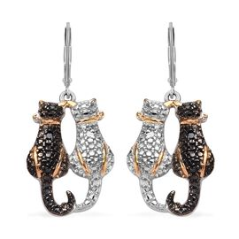Black and White Diamond (Rnd) Twin Cat Lever Back Earrings in Black Rhodium, Platinum and Yellow Gold Overlay Sterling Silver