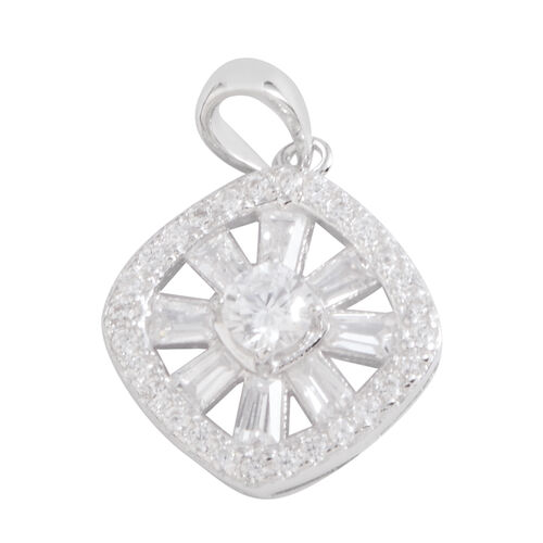 JCK Vegas Collection ELANZA AAA Simulated Diamond (Rnd) Pendant in Rhodium Plated Sterling Silver