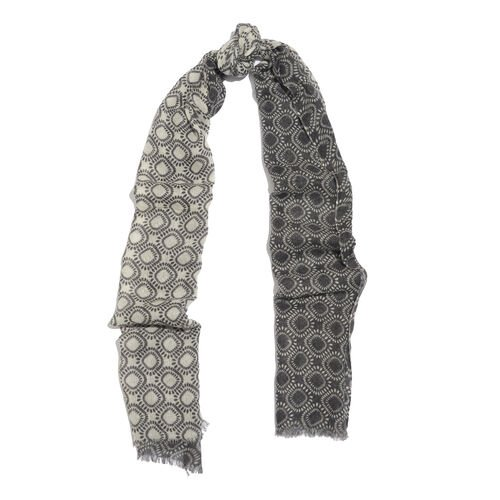 100% Merino Wool Grey, Black and White Colour Rhombus Pattern Scarf with Fringes (Size 170X70 Cm)