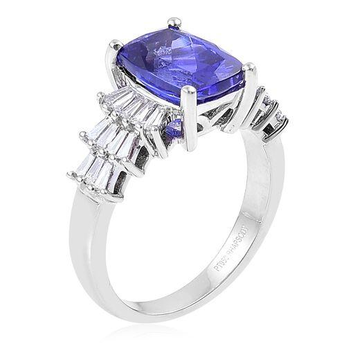 RHAPSODY 950 Platinum 4.15 Ct AAAA Tanzanite Ring with Diamond VS E-F