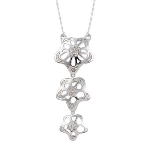 J Francis - Platinum Overlay Sterling Silver (Rnd) Necklace (Size 20) Made with SWAROVSKI ZIRCONIA