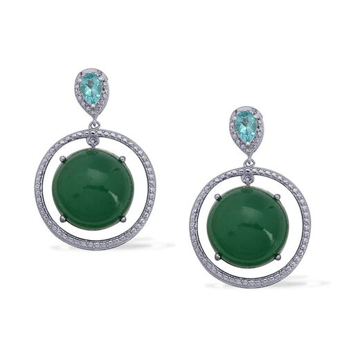 Emerald Quartz (Rnd), Paraiba Apatite and Diamond Earrings in Platinum Overlay Sterling Silver 25.010 Ct.