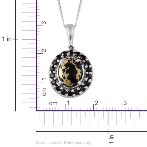 Goldenite (Ovl 1.50 Ct), Boi Ploi Black Spinel Pendant With Chain in Platinum Overlay Sterling Silver 2.250 Ct.