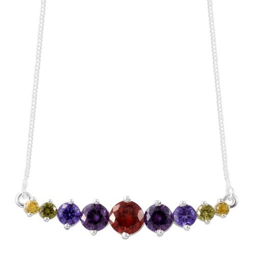 ELANZA AAA Simulated Garnet (Rnd), Simulated Amethyst, Simulated Sapphire, Simulated Peridot and Simulated Citrine Necklace (Size 18) in Sterling Silver