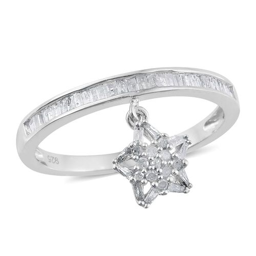 Diamond (Rnd) Star Charm Ring in Platinum Overlay Sterling Silver 0.500 Ct.