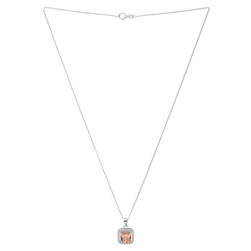 ELANZA AAA Simulated Champagne Diamond (Sqr), Simulated White Diamond Pendant with Chain (Size 18) in Rhodium Plated Sterling Silver