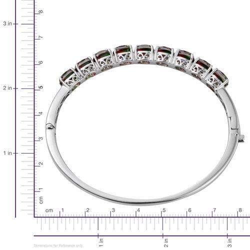Bi-Color Tourmaline Quartz (Ovl) Bangle (Size 7.5) in ION Plated Platinum Bond 14.250 Ct.