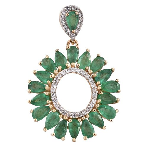 9K Yellow Gold Kagem Zambian Emerald (Pear), Natural Cambodian Zircon Pendant 4.000 Ct.