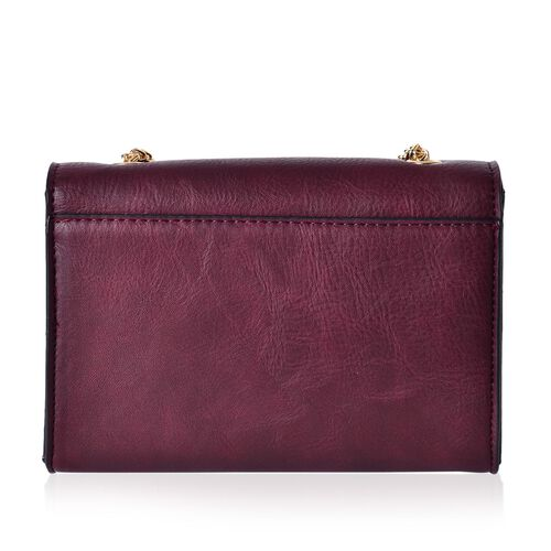 Dark Brown Colour Crossbody Bag with Chain Strap (Size 20x14x8 Cm)